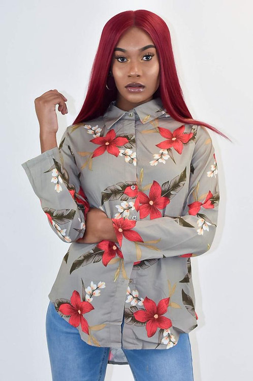 Donna Long Sleeve Floral Print Shirt
