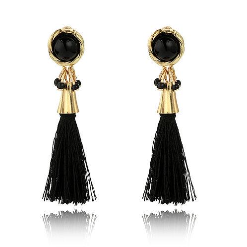 Kitty Black Tassel Earrings