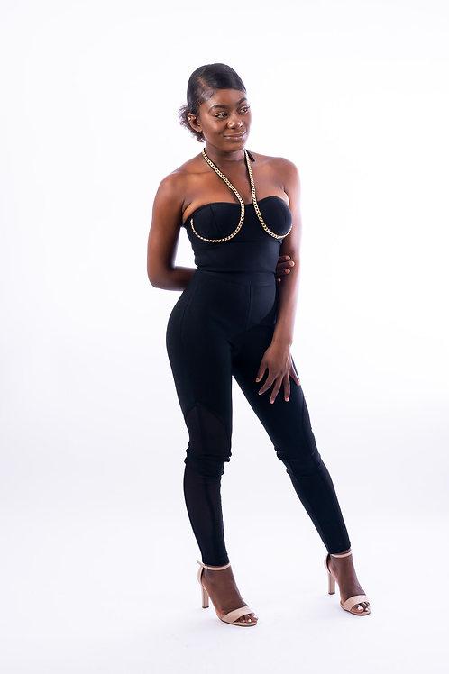 Camille Black Chain Strap Bandage Jumpsuit