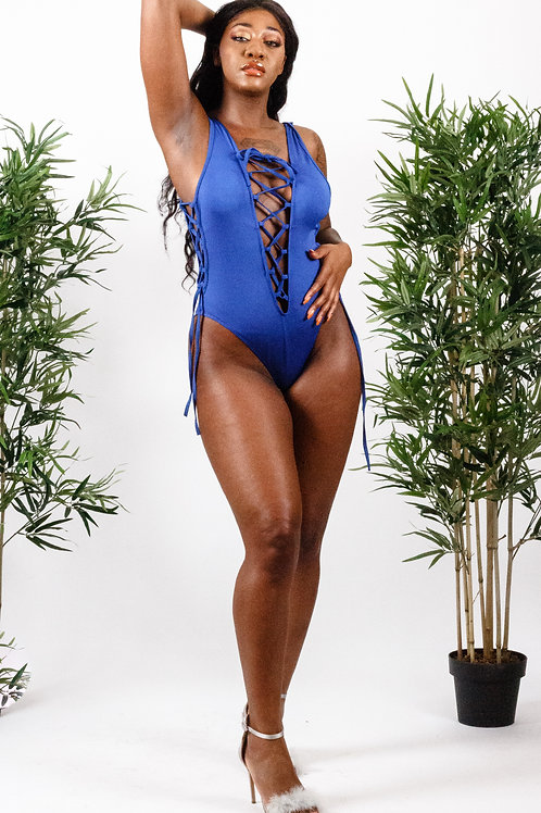 Nova Blue Lace up High Cut Bodysuit