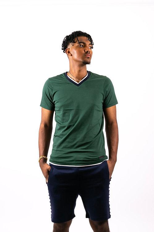 Kev Contrasting V-neck T-shirt