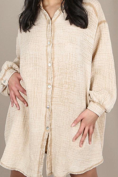 Viola Loose Textured Shirt Dress