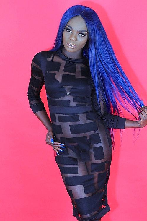 Crystal Black Sheer Mesh Patchwork Long Sleeve Dress