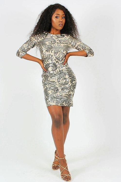 Estelle Sequin Embellished Bodycon Dress