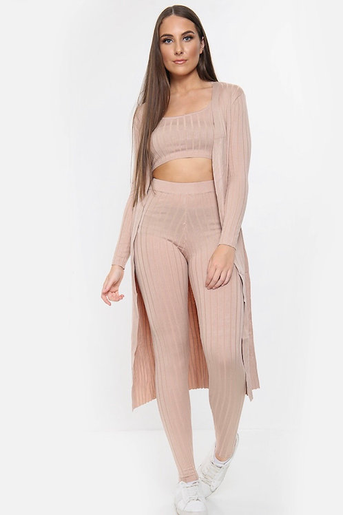 Arias Beige Three Piece Ribbed Co-Ord