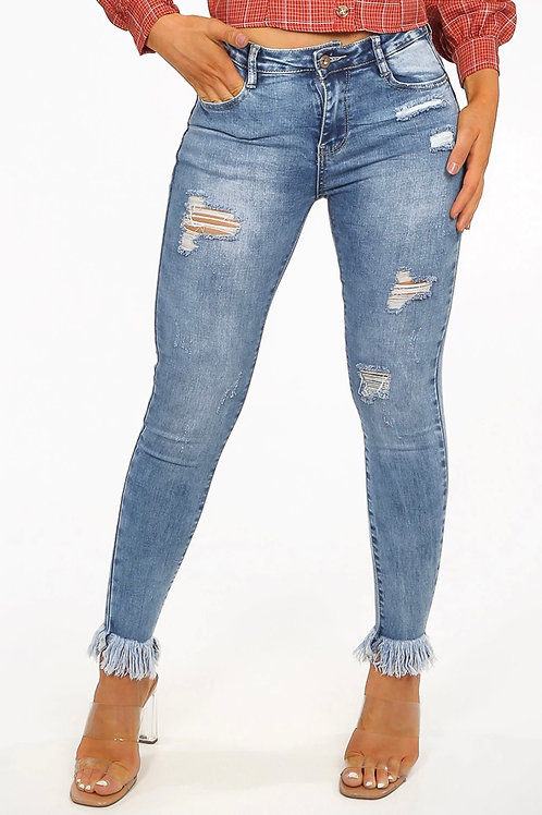 Sinzu Ripped Frayed Ankles Jeans