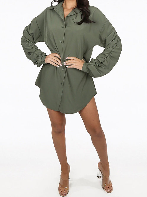 Zinzi Ruched Sleeve Shirt Dress