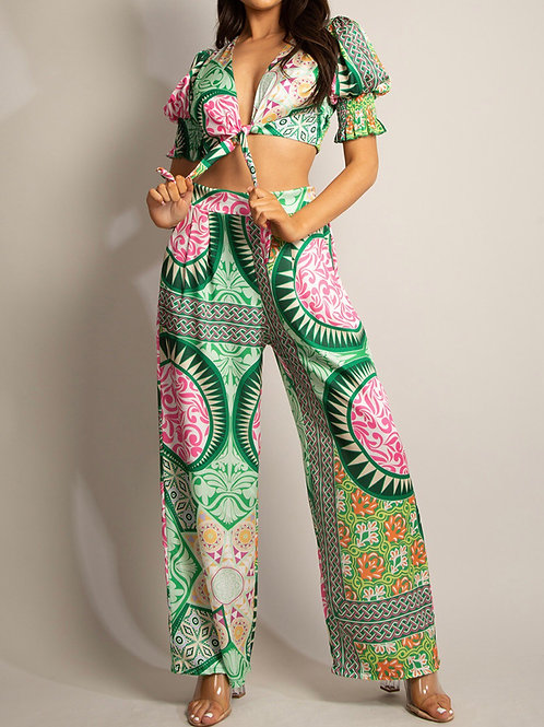 Yanell Printed Crop Coord Trouser Set