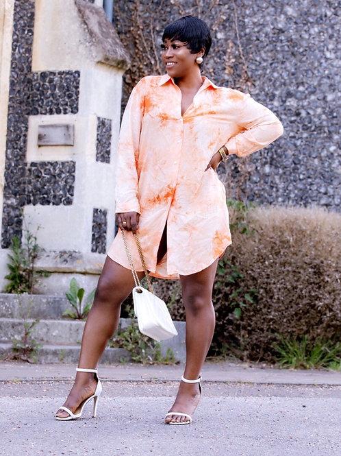 Barbs Orange Tie Dye Shirt Dress