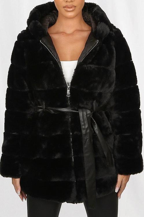 Polar Fur Belted Coat