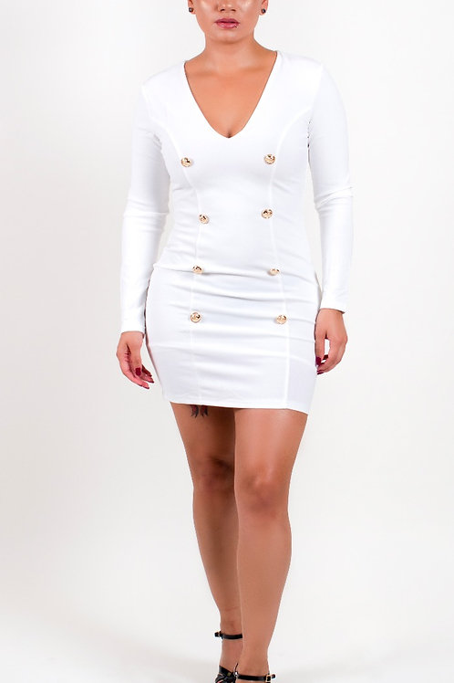 Lopez Gold Buttoned Back Zip Up Bodycon