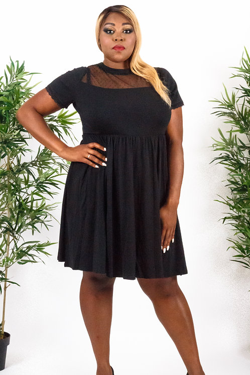 Black Dot Mesh Inset Skater Dress