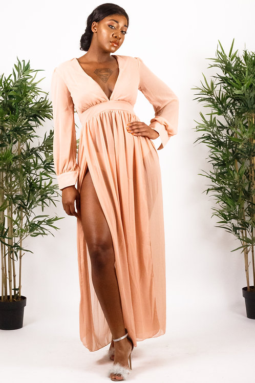 Meghan Shimmer Mocha Slit Goddess Dress