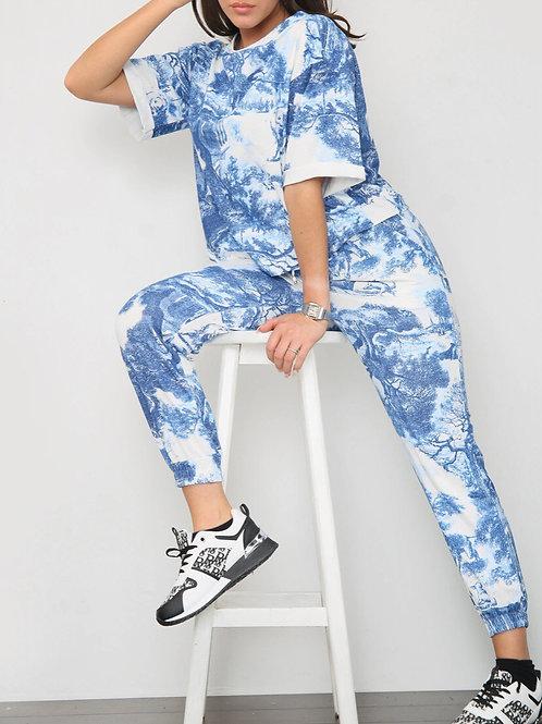 Libby Blue Print Loungewear Co-Ord Set