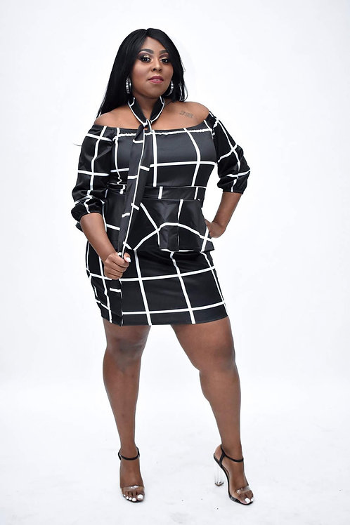 Bonnie Stripe Frill Plus Size Dress