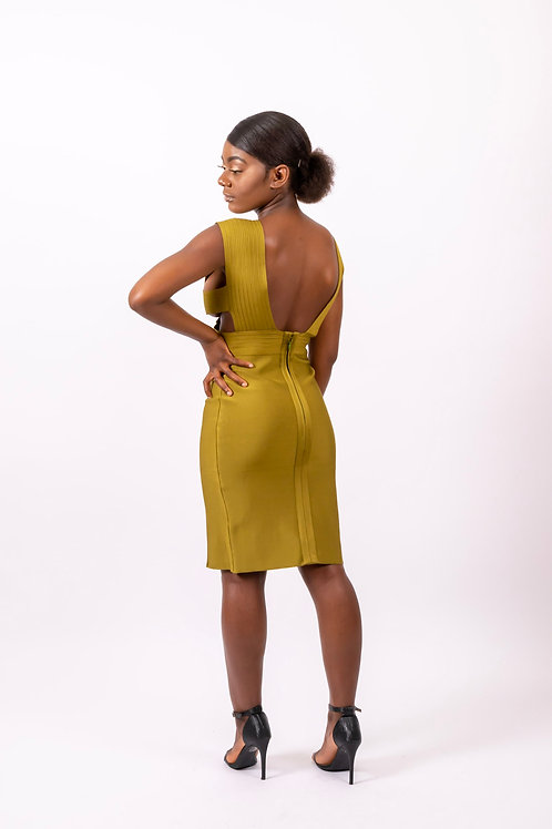Molly Cut Out Detail Olive Green Bandage Dress