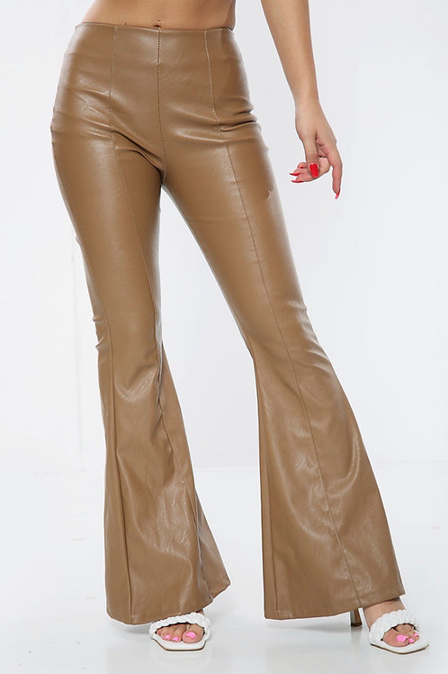 Zizzo leather flare trousers