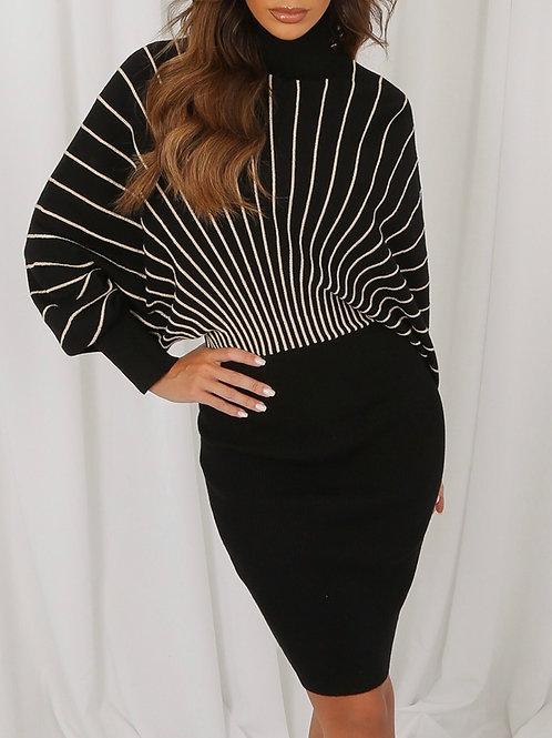 Swirl Polo Neckline Dress