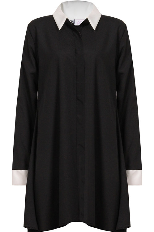 Katty Front Button Up Swing Shirt Dress