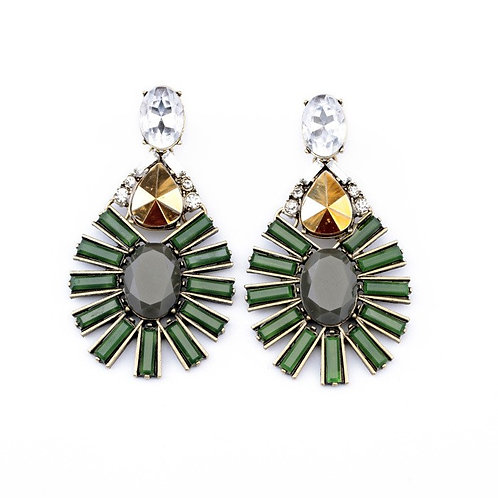 Betty Alloy Drill Set Earrings (Green)