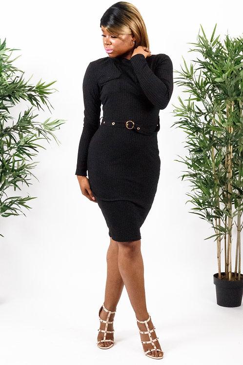 Mona Black High Neck Rib Knitted Belt Midi Dress