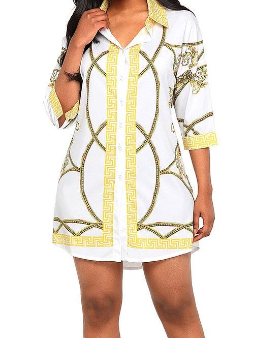 Toya Gold Chain Print Shirt Dress