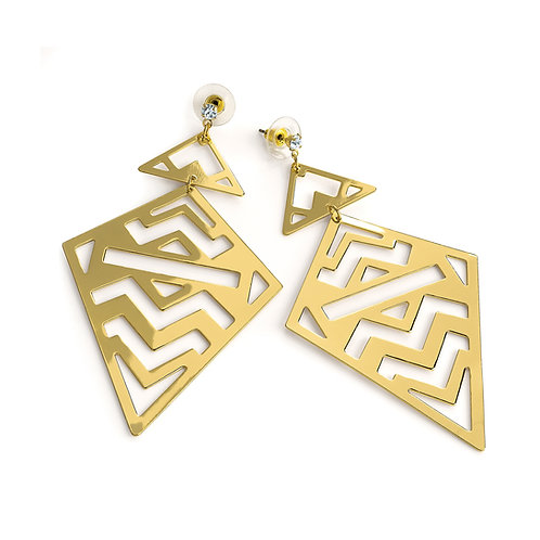 Arii gold crystal triangle cut out drop earring