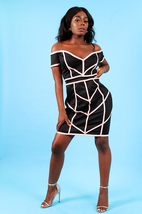 Kayzi Black Nude Trim Bodycon Off Shoulder Dress