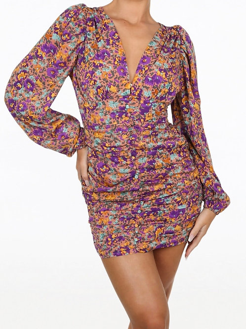 Vee Ruched Floral Print Dress