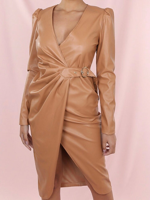 Denzer Ruched Front Midi Dress