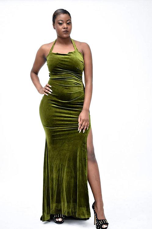Avanna Green Thigh High Split Velvet Dress