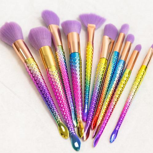 Vickzinoo Lilac 10 Piece Magical Rainbow Makeup Brush Set