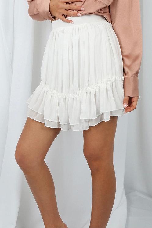Chevron Chiffon Pleated Skirt