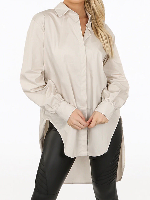 Fanne High Low Collared Shirt