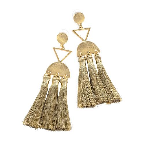 Doodle worn gold thread tassel drop earring