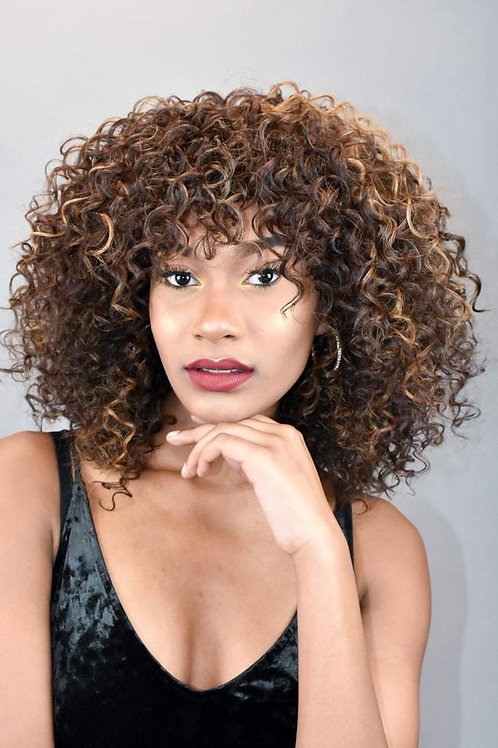 Black And Brown Afro Synthetic Wig