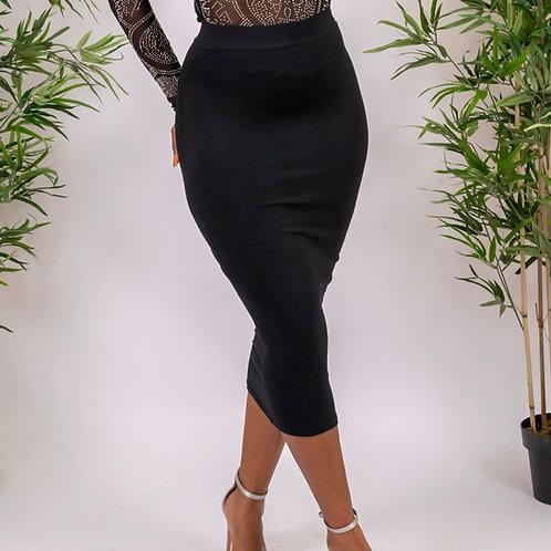 Toni Black High-waisted Bodycon Maxi Skirt