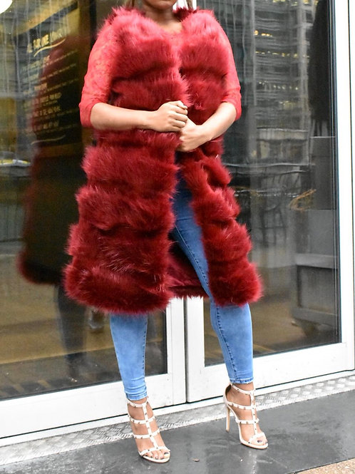 Vanni Longline Shaggy Fur Gilet