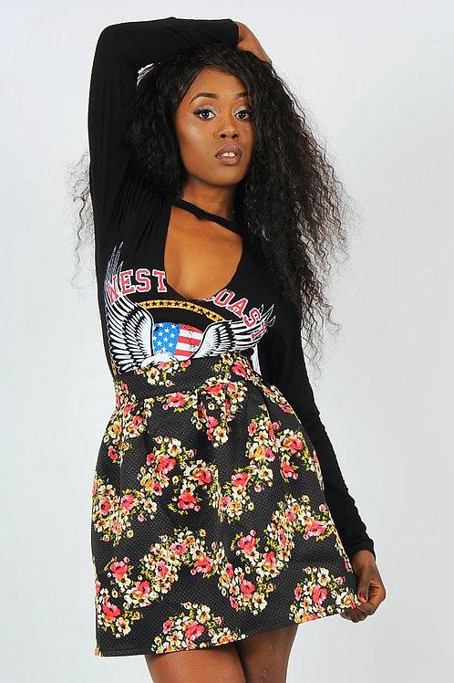 Roxton Floral Print Jacquard Skirt