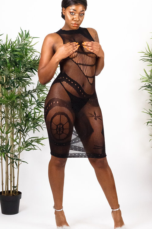 Ethio Black Sleeveless Sheer Mesh Lingerie Dress