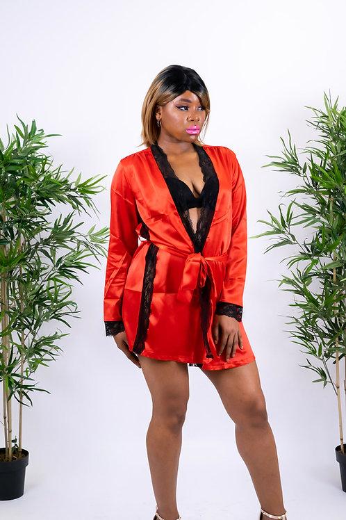 Jayda Flaming Red Lace Trim Satin Robe