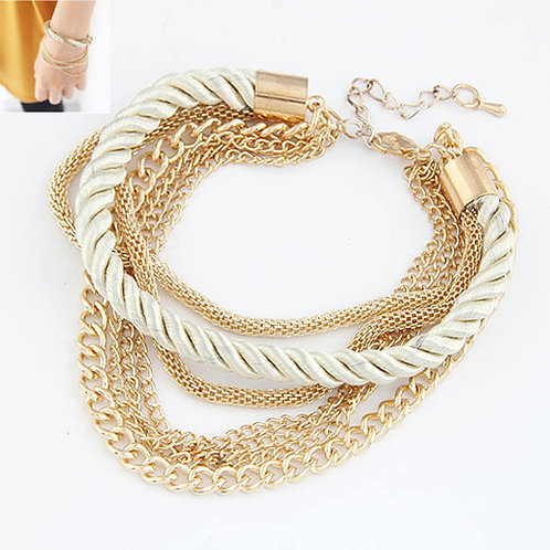 Lora Chain White Rope Bracelet