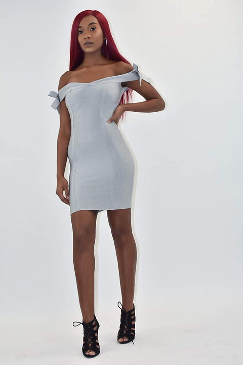 Anaya Grey Off The Shoulder Bandage Dress