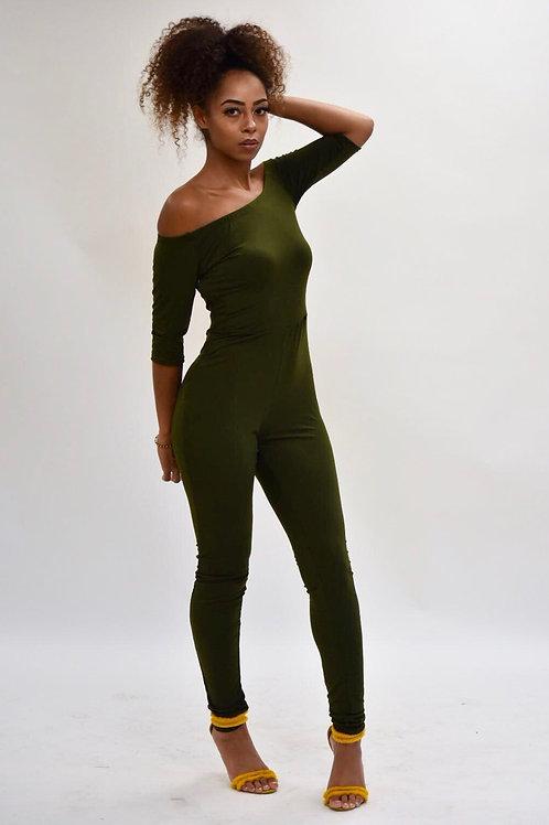Naomi Olive Green Bardot Neckline Jumpsuit