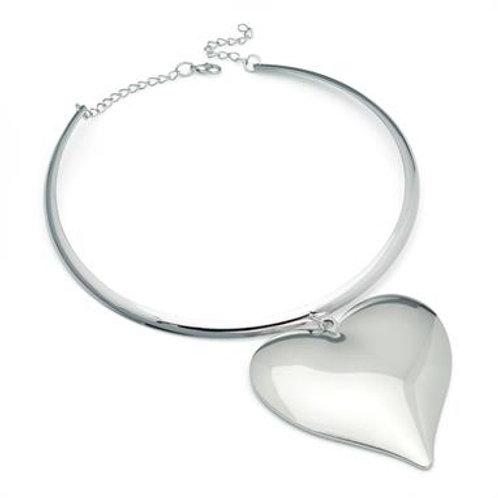 Teno rhodium heart design metal collar necklace