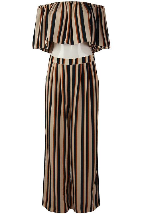 Dito stripe Print Bardot Crop Top & Trouser Set