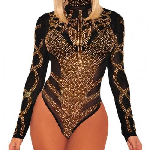 Riffy Black Rhinestone Faux Bustier Mesh Bodysuit