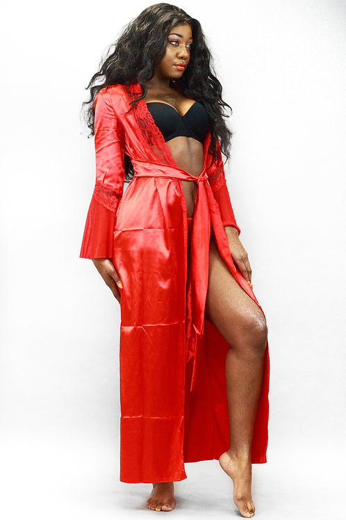 Frances Red Satin Long Robe With Lace Trim