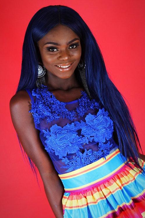 Jackie Blue Mesh Lace Applique Bodysuit