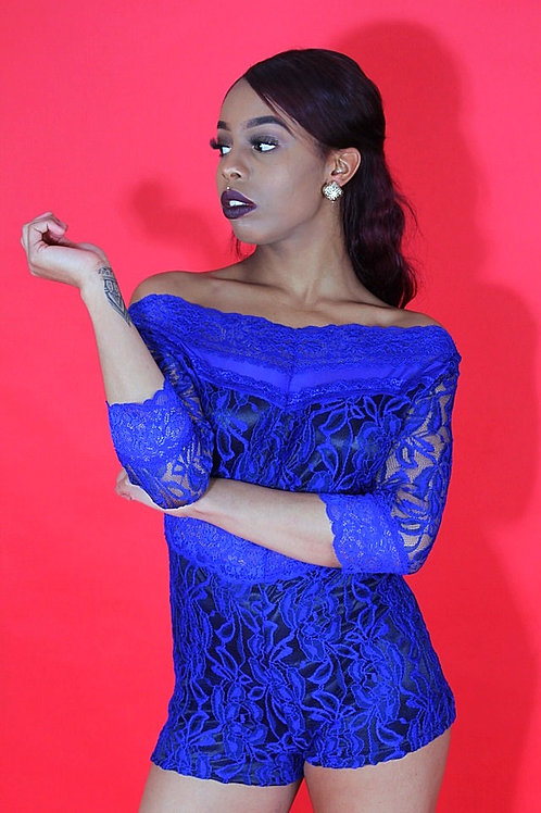 Tayan Royal Blue Lace Overlay Off-shoulder Romper